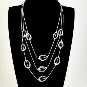 Trifari Layer Necklace Silver Tone 3 Strands